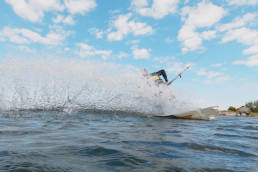 Kitesurfing water slide in Sweden